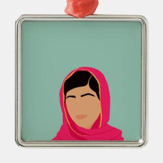 Malala Yousafzai Adorno Navideño Cuadrado De Metal