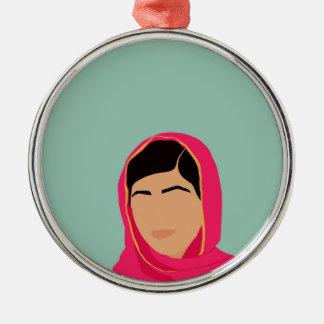 Malala Yousafzai Adorno Navideño Redondo De Metal