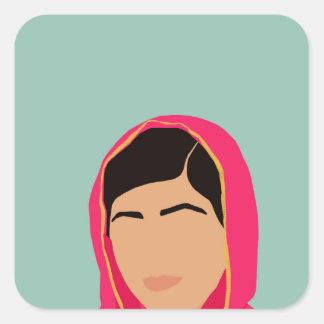 Malala Yousafzai Pegatina Cuadrada