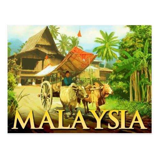 Malasia - carro de Bullock Postales