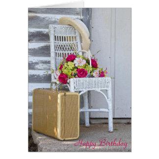 maleta y flores cumpleaños-retras tarjeta