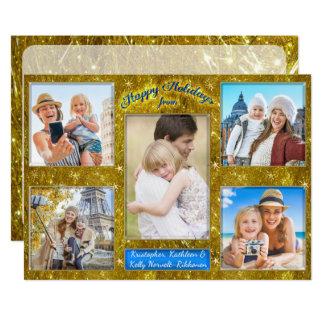 Malla del oro del collage de la foto del día de invitación 12,7 x 17,8 cm