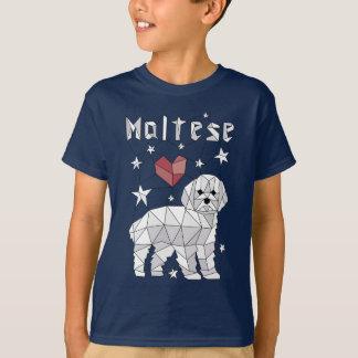 maltés-geométrico-camiseta-camisa camiseta