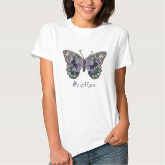 Mamá #1 con la mariposa metálica del remiendo camisetas