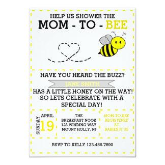 Mamá-a-abeja Invitación 12,7 X 17,8 Cm