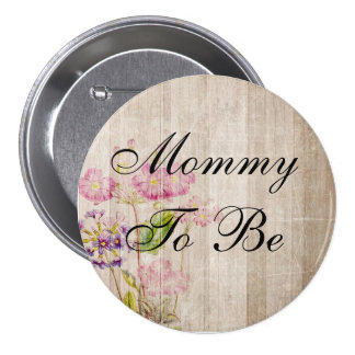 Mamá a ser, botón floral de madera rústico de la