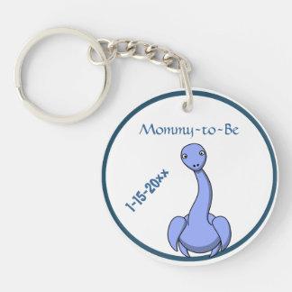 Mamá azul adorable del dinosaurio a ser fiesta de llavero redondo acrílico a doble cara