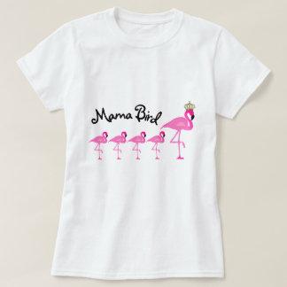 Mamá Bird Flamingo T-Shirt con cuatro bebés Camiseta