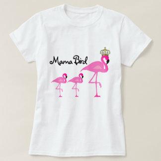 Mamá Bird Flamingo T-Shirt con dos bebés Camiseta