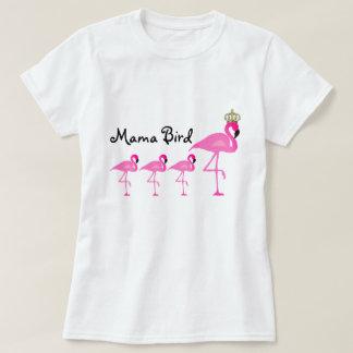 Mamá Bird Flamingo T-Shirt con tres bebés Camiseta