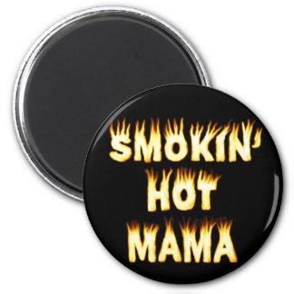 Mamá caliente Funny Mother Flames de Smokin Imán Redondo 5 Cm