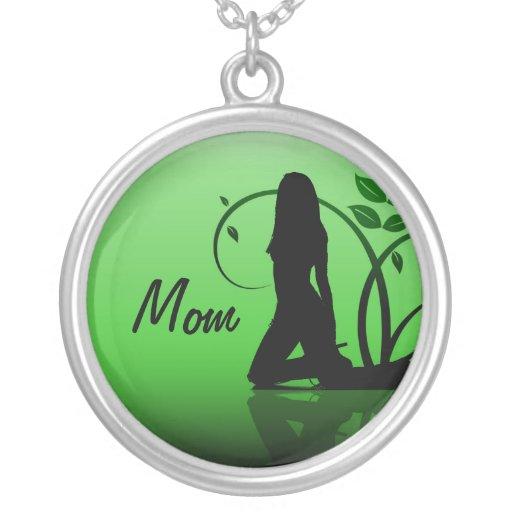Mamá, collar verde de la silueta de la damisela