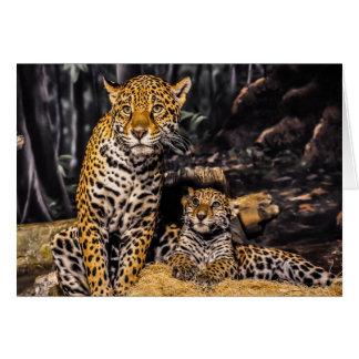 Mamá de Jaguar y tarjeta de felicitación de Cub