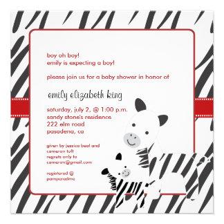 Mamá de la cebra + invitaciones de la fiesta de comunicado
