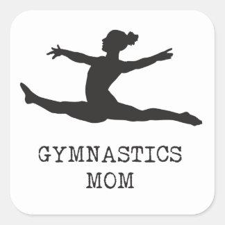 Mamá de la gimnasia pegatina cuadrada