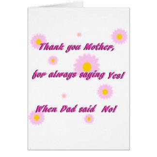 ¡Mamá de las gracias para decir sí! Tarjeta del