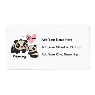 Mamá del amor de las pandas I Etiquetas De Envío