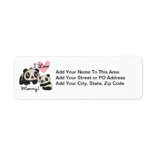 Mamá del amor de las pandas I Etiquetas De Remite