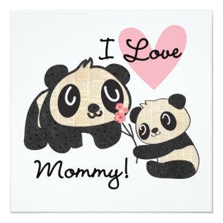 Mamá del amor de las pandas I Invitación 13,3 Cm X 13,3cm