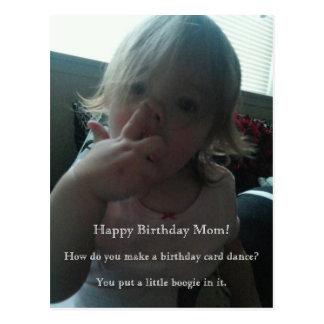 Mamá del bailarín del feliz cumpleaños postal