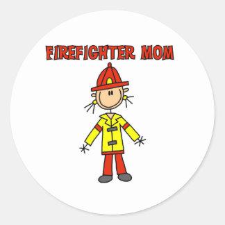 Mamá del bombero pegatinas redondas