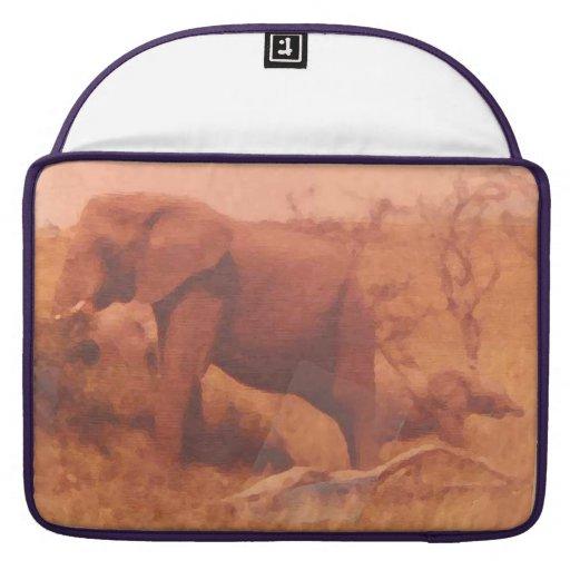 Mamá del elefante y su bebé lindo fundas para macbooks