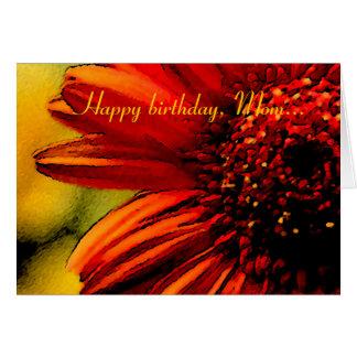 Mamá del feliz cumpleaños - detalle de una flor tarjeta de felicitación