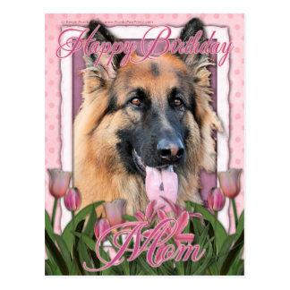 Mamá del feliz cumpleaños - pastor alemán - de postal