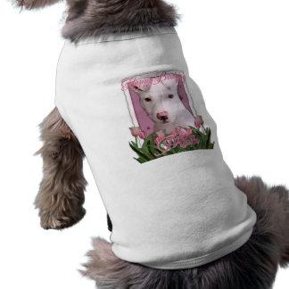 Mamá del feliz cumpleaños - perrito de Pitbull - P Camiseta De Perro