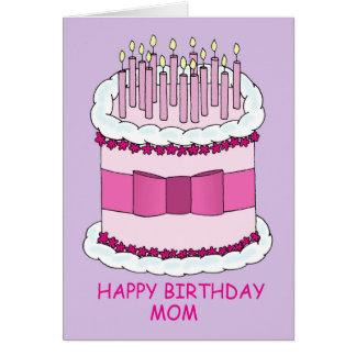 Mamá del feliz cumpleaños, torta grande tarjeta de felicitación