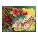 Mamá del mundo floral del vintage la mejor tarjetas postales