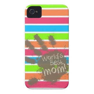 Mamá divertida; Arco iris de neón retro Case-Mate iPhone 4 Carcasas