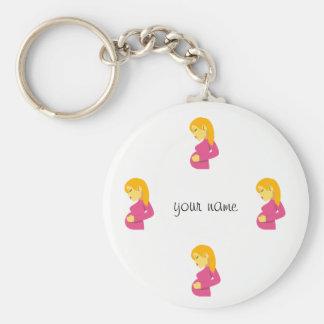 """Mamá embarazada de Emoji y '' su nombre aquí """" Llavero"""