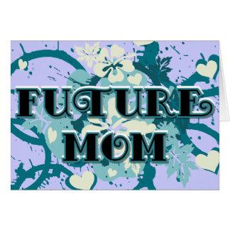 Mamá futura - corazones y flores tarjetas
