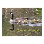 Mamá ganso y foto de los gansos del bebé invitación 12,7 x 17,8 cm