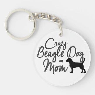 Mamá loca del perro del beagle llavero redondo acrílico a doble cara