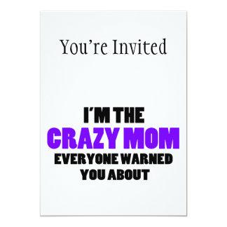 Mamá loca le advirtieron alrededor invitación 12,7 x 17,8 cm