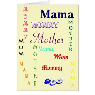 Mamá, mamá, madre, mamá tarjeton
