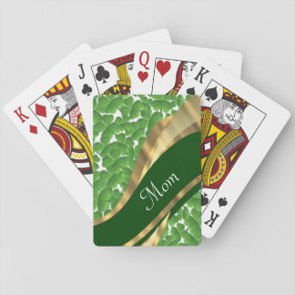 Mamá personalizada trébol verde barajas de cartas