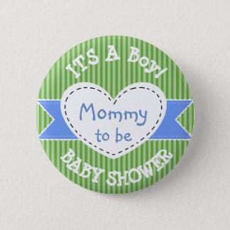 Mamá rayada azul del botón de la fiesta de