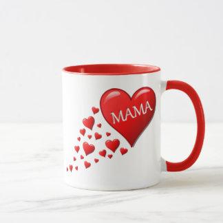 Mamá roja Hearts Taza