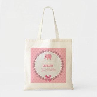Mamá rosada de la invitación el | del nacimiento bolso de tela