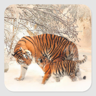 Mamá Tiger y tigre de bebé en pegatina de la nieve