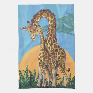 Mamá y bebé de la jirafa paño de cocina
