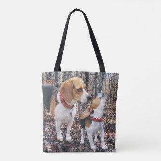Mamá y perrito del beagle en maderas bolsa de tela