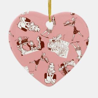 Mamáes retras adaptables de la acción de gracias adorno de cerámica en forma de corazón