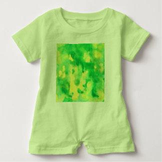 Mameluco del bebé de la acuarela del verde