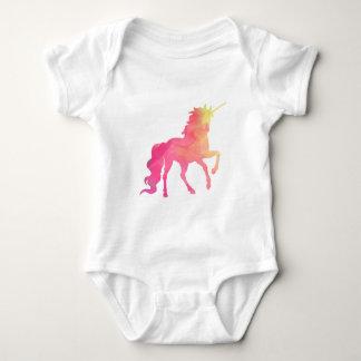 Mameluco del bebé del unicornio de la acuarela