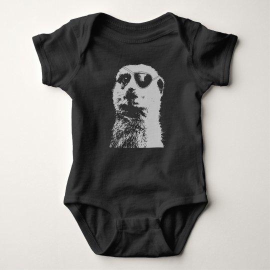 Mameluco del negro del mono del bebé del eyepatch