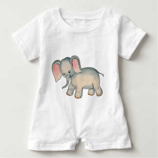 Mameluco retro del bebé del elefante del bebé